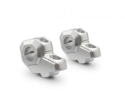 Проставки руля со смещением (d22 мм, вверх 30мм, сдвиг 22мм) серебристые